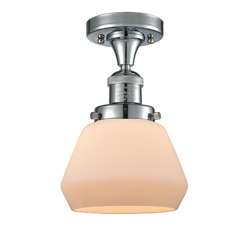 Innovations Lighting Fulton Polished Chrome 11-Inch One-Light Semi Flush Mount with Matte White Cased Sphere Glass