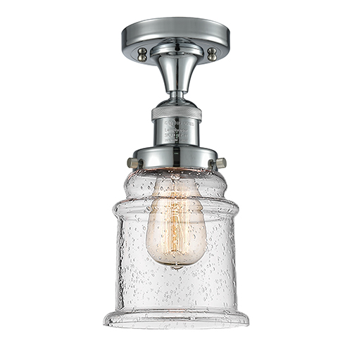Canton Polished Chrome 12-Inch One-Light Semi Flush Mount with Seedy Bell Glass