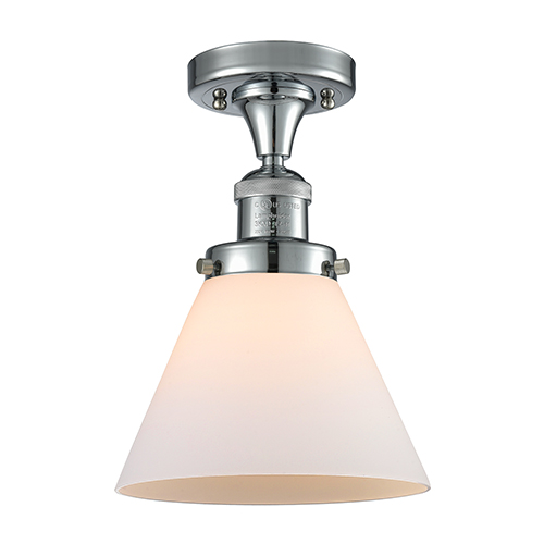 Innovations Lighting Large Cone Polished Chrome 12-Inch LED Semi Flush Mount with Matte White Cased Cone Glass