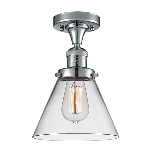 Innovations Lighting Large Cone Polished Chrome 12-Inch One-Light Semi Flush Mount with Clear Cone Glass