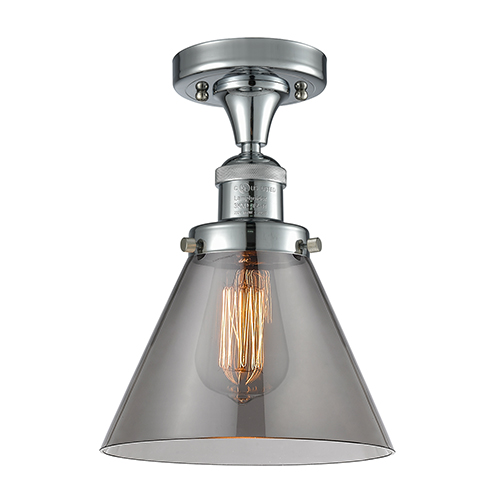 Innovations Lighting Large Cone Polished Chrome 12-Inch LED Semi Flush Mount with Smoked Cone Glass