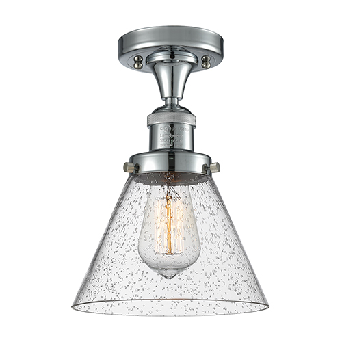 Innovations Lighting Large Cone Polished Chrome 12-Inch LED Semi Flush Mount with Seedy Cone Glass