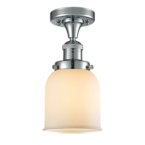 Innovations Lighting Small Bell Polished Chrome Nine-Inch One-Light Semi Flush Mount with Matte White Cased Bell Glass