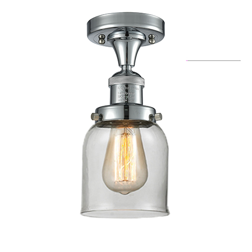 Innovations Lighting Small Bell Polished Chrome Nine-Inch LED Semi Flush Mount with Clear Bell Glass