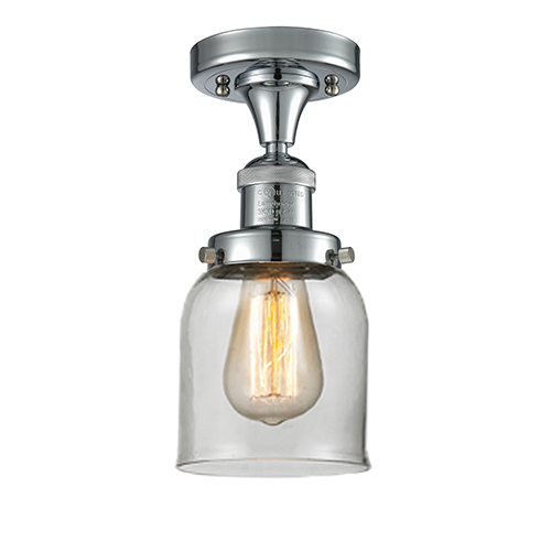 Innovations Lighting Small Bell Polished Chrome Nine-Inch One-Light Semi Flush Mount with Clear Bell Glass
