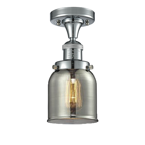 Innovations Lighting Small Bell Polished Chrome Nine-Inch LED Semi Flush Mount with Smoked Bell Glass