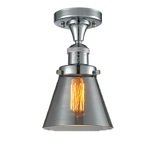Innovations Lighting Small Cone Polished Chrome Seven-Inch One-Light Semi Flush Mount with Smoked Cone Glass