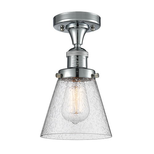 Innovations Lighting Small Cone Polished Chrome Seven-Inch LED Semi Flush Mount with Seedy Cone Glass
