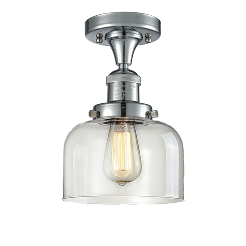 Large Bell Polished Chrome 12-Inch One-Light Semi Flush Mount with Clear Dome Glass