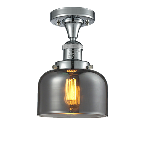 Innovations Lighting Large Bell Polished Chrome 12-Inch LED Semi Flush Mount with Smoked Dome Glass