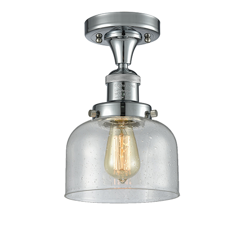 Innovations Lighting Large Bell Polished Chrome 12-Inch LED Semi Flush Mount with Seedy Dome Glass