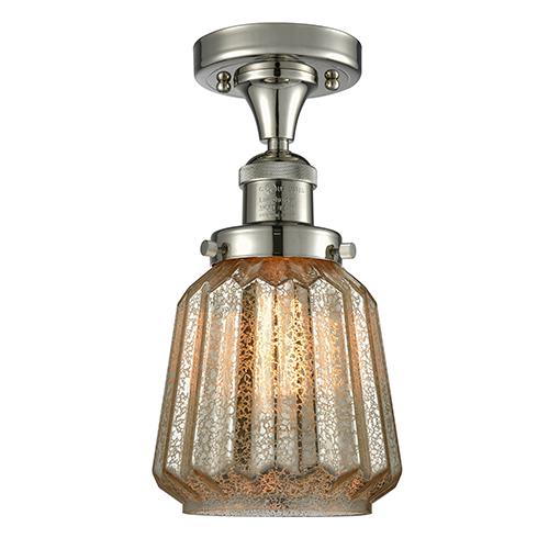 Innovations Lighting Chatham Polished Nickel 14-Inch LED Semi Flush Mount with Mercury Fluted Novelty Glass