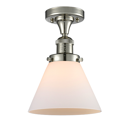 Large Cone Polished Nickel 12-Inch LED Semi Flush Mount with Matte White Cased Cone Glass