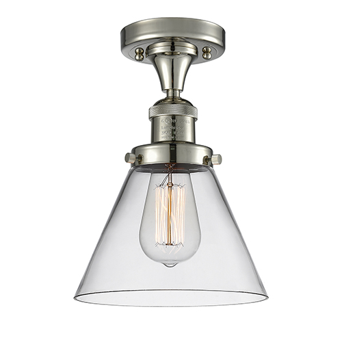 Innovations Lighting Large Cone Polished Nickel 12-Inch LED Semi Flush Mount with Clear Cone Glass
