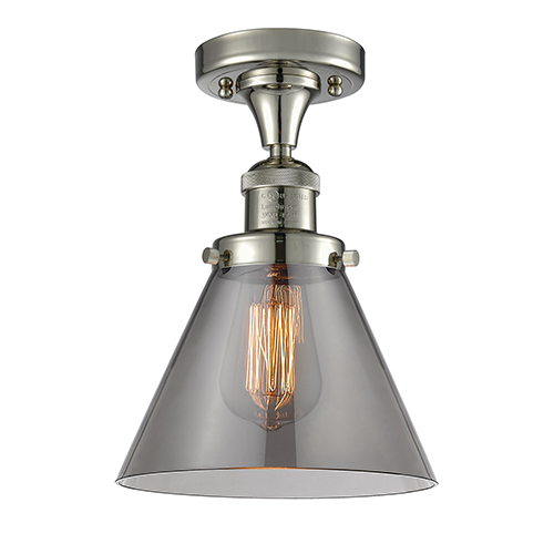 Large Cone Polished Nickel 12-Inch One-Light Semi Flush Mount with Smoked Cone Glass