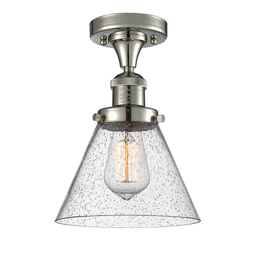 Innovations Lighting Large Cone Polished Nickel 12-Inch One-Light Semi Flush Mount with Seedy Cone Glass