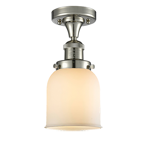 Innovations Lighting Small Bell Polished Nickel Nine-Inch LED Semi Flush Mount with Matte White Cased Bell Glass