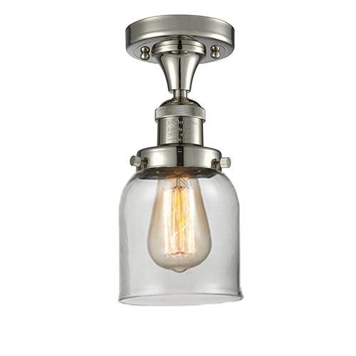 Innovations Lighting Small Bell Polished Nickel Nine-Inch LED Semi Flush Mount with Clear Bell Glass