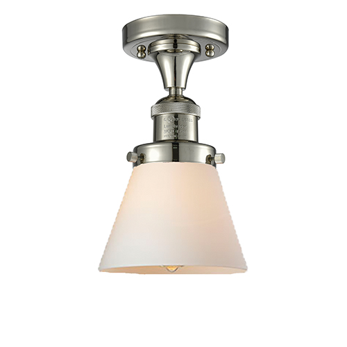 Small Cone Polished Nickel Seven-Inch One-Light Semi Flush Mount with Matte White Cased Cone Glass