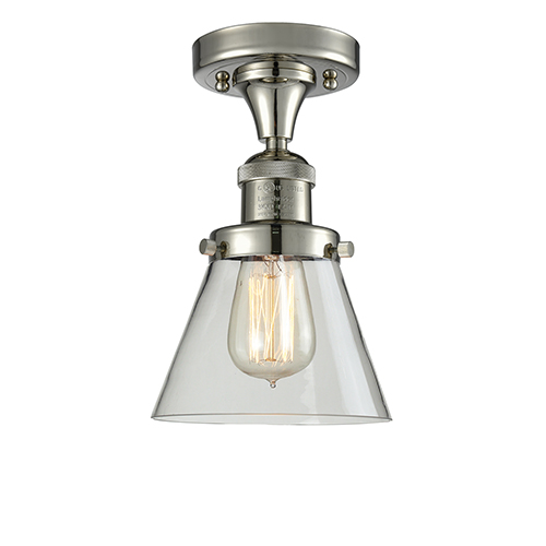 Innovations Lighting Small Cone Polished Nickel Seven-Inch LED Semi Flush Mount with Clear Cone Glass