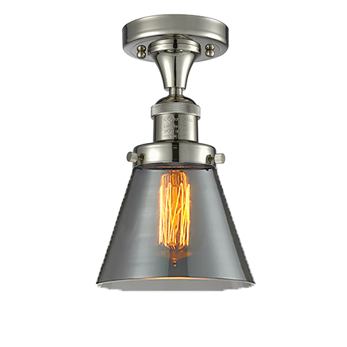 Small Cone Polished Nickel Seven-Inch LED Semi Flush Mount with Smoked Cone Glass