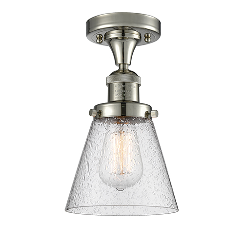 Small Cone Polished Nickel Seven-Inch LED Semi Flush Mount with Seedy Cone Glass