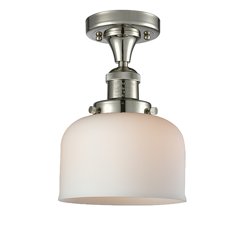 Innovations Lighting Large Bell Polished Nickel 12-Inch LED Semi Flush Mount with Matte White Cased Dome Glass