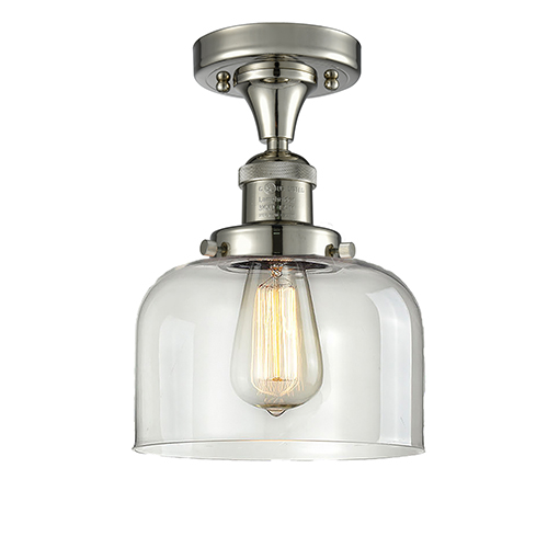 Innovations Lighting Large Bell Polished Nickel 12-Inch LED Semi Flush Mount with Clear Dome Glass