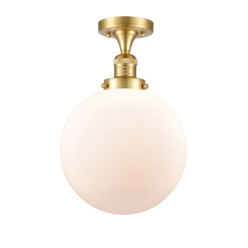 Franklin Restoration Satin Gold 13-Inch One-Light Semi-Flush Mount with Matte White Cased Beacon Shade