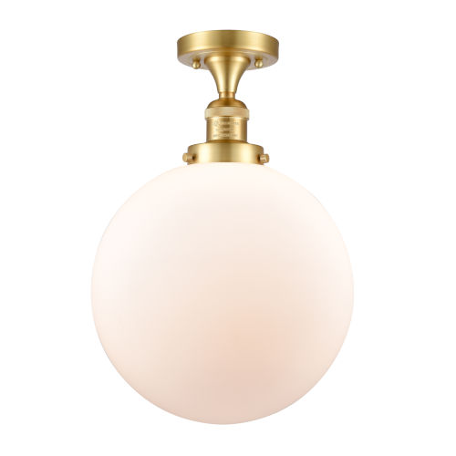 Franklin Restoration Satin Gold 15-Inch LED Semi-Flush Mount with Matte White Cased Beacon Shade