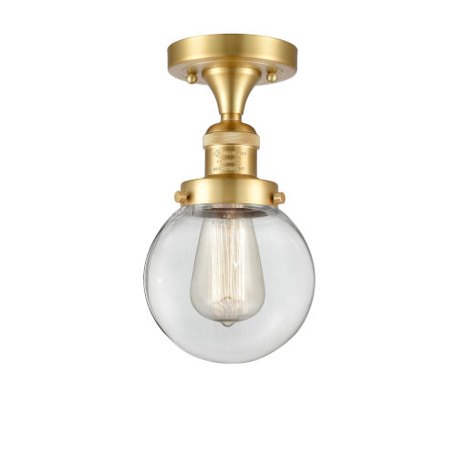 Franklin Restoration Satin Gold 11-Inch LED Semi-Flush Mount with Clear Beacon Shade
