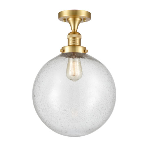 Franklin Restoration Satin Gold 15-Inch One-Light Semi-Flush Mount with Seedy Beacon Shade