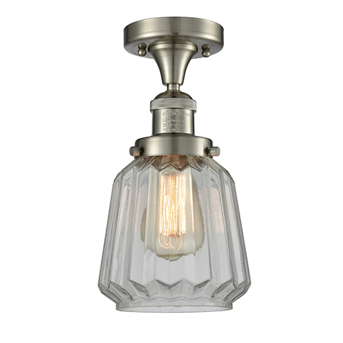 Innovations Lighting Chatham Brushed Satin Nickel 14-Inch One-Light Semi Flush Mount with Clear Fluted Novelty Glass
