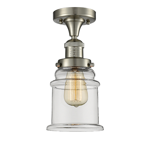 Innovations Lighting Canton Brushed Satin Nickel 12-Inch One-Light Semi Flush Mount with Clear Bell Glass