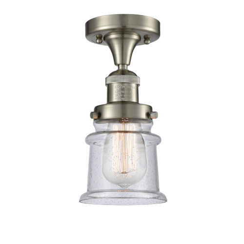 Franklin Restoration Brushed Satin Nickel 12-Inch LED Semi-Flush Mount with Seedy Canton Shade