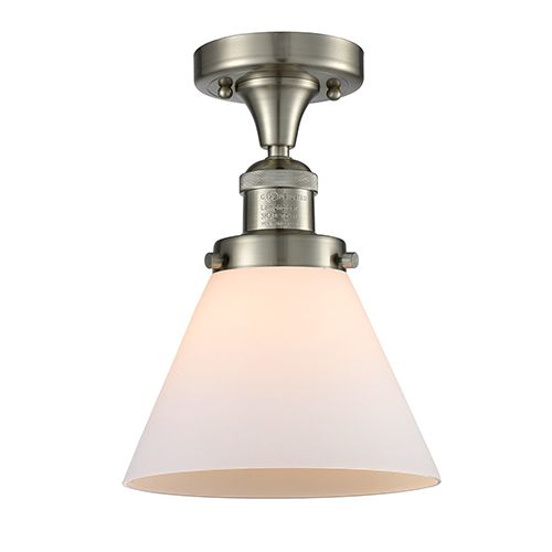 Innovations Lighting Large Cone Brushed Satin Nickel 12-Inch One-Light Semi Flush Mount with Matte White Cased Cone Glass