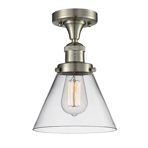 Innovations Lighting Large Cone Brushed Satin Nickel 12-Inch One-Light Semi Flush Mount with Clear Cone Glass