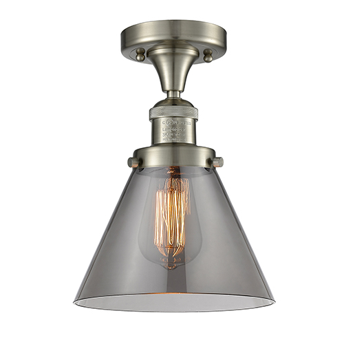 Large Cone Brushed Satin Nickel 12-Inch One-Light Semi Flush Mount with Smoked Cone Glass