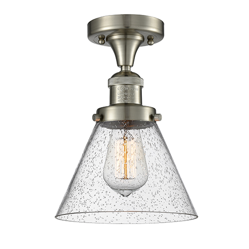 Innovations Lighting Large Cone Brushed Satin Nickel 12-Inch One-Light Semi Flush Mount with Seedy Cone Glass