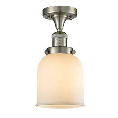 Innovations Lighting Small Bell Brushed Satin Nickel Nine-Inch One-Light Semi Flush Mount with Matte White Cased Bell Glass
