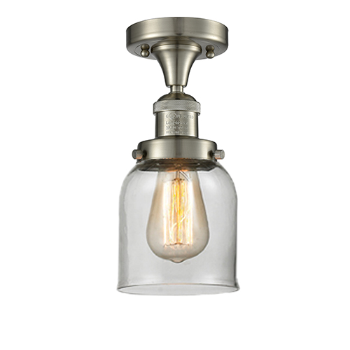 Innovations Lighting Small Bell Brushed Satin Nickel Nine-Inch One-Light Semi Flush Mount with Clear Bell Glass