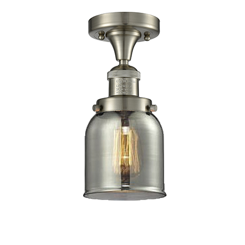 Small Bell Brushed Satin Nickel Nine-Inch LED Semi Flush Mount with Smoked Bell Glass