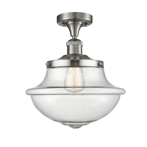 Franklin Restoration Brushed Satin Nickel 12-Inch One-Light Semi-Flush Mount with Seedy Glass Shade