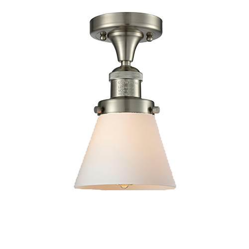 Innovations Lighting Small Cone Brushed Satin Nickel Seven-Inch One-Light Semi Flush Mount with Matte White Cased Cone Glass