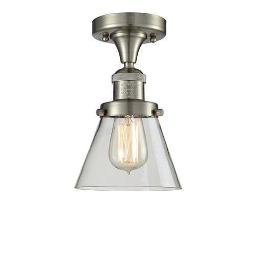 Small Cone Brushed Satin Nickel Seven-Inch One-Light Semi Flush Mount with Clear Cone Glass