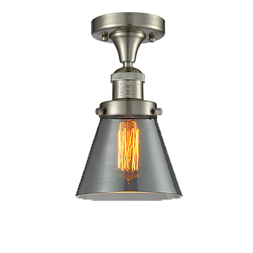 Small Cone Brushed Satin Nickel Seven-Inch One-Light Semi Flush Mount with Smoked Cone Glass