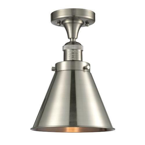 Franklin Restoration Brushed Satin Nickel 10-Inch LED Semi-Flush Mount with Appalachian Brushed Satin Nickel Metal Shade