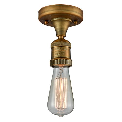Innovations Lighting Bare Bulb Brushed Brass Six-Inch LED Semi Flush Mount