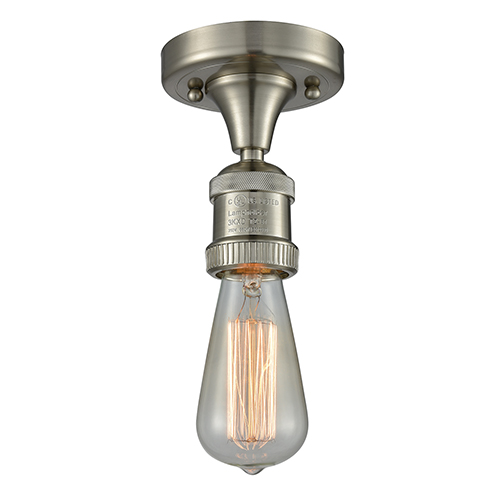 Innovations Lighting Bare Bulb Brushed Satin Nickel One-Light Semi Flush Mount