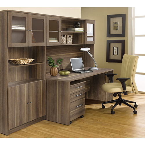 Unique Furniture 100 Collection Walnut Executive Office Desk with Hutch and Bookcase